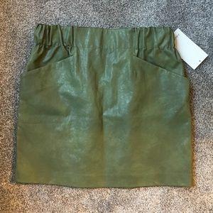 Zara green pleather skirt